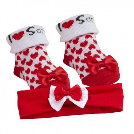 """Ensemble chaussettes et bandeau """"I love Santa"""""""