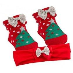 """Ensemble chaussettes et bandeau """"Sapin de Noël"""""""