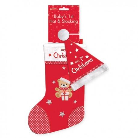 """Kerstsok """"Baby's First Christmas"""" + bijhorende muts"""
