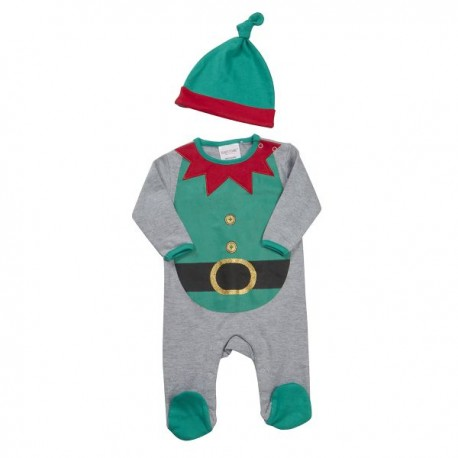 "Christmas sleepsuit ""Elfe"" gray and red with hat"