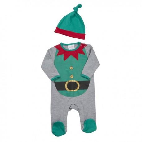 "Pyjama de Noël ""Elfe"" gris et vert avec bonnet"