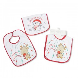 "Pack of 2 Christmas bibs ""Reindeer"" and ""Snowman"""
