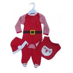 "Ensemble ""Père Noël"" avec body, pantalon, bonnet et bavoir"