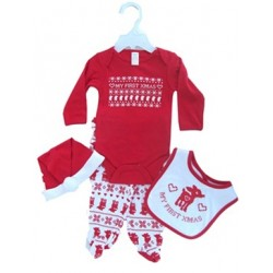 "4-delig ""My First Christmas"" set met body, broek, muts en slabbetje"