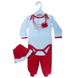 "3 pc ""Fancy suit"" Christmas set with body, trousers and hat"