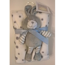 Blanket white gray spots with assorted rabbit plush