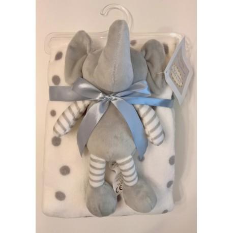 """Couverture blanche à pois gris avec peluche """"éléphant"""" assortie"""