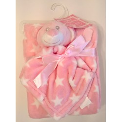 """Couverture rose étoiles blanches avec doudou plat """"ourson"""" assorti"""