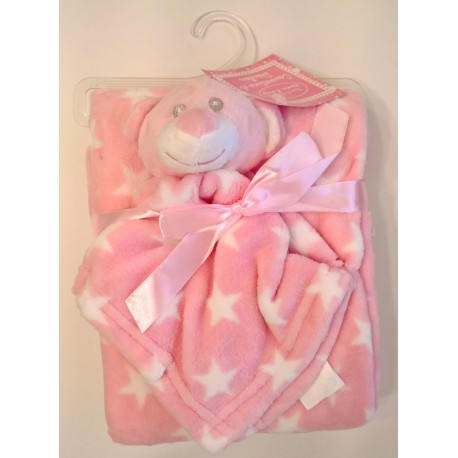 Blanket pink white stars with assorted comforter