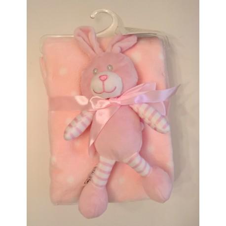 """Couverture rose à pois blancs avec peluche """"lapin"""" assortie"""