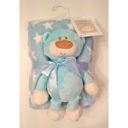 Blanket blue white stars with assorted teddy bear