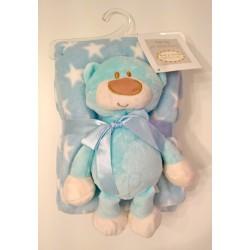 """Couverture bleue étoiles blanches avec peluche """"ourson"""" assortie"""