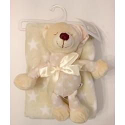 """Couverture beige étoiles blanches avec peluche """"ourson"""" assortie"""