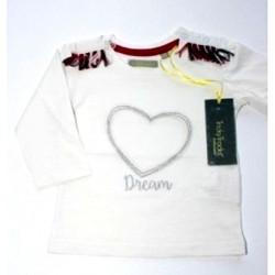 """T-shirt fille """"coeur"""" blanc"""