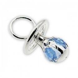 Zilveren fopspeen met kristal blauw