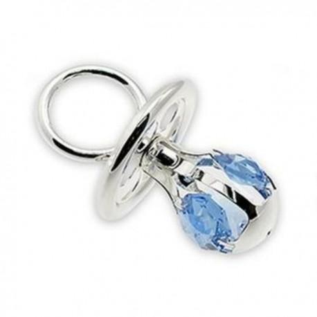 Silver fopspeen met blauw kristal