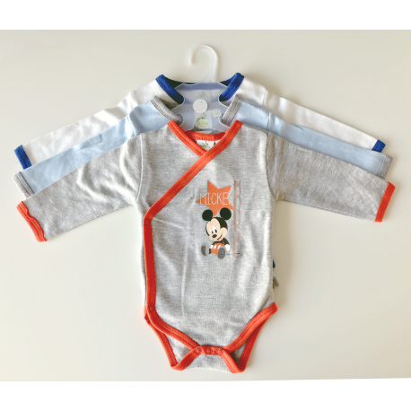 """3 body's """"Mickey Mouse"""" grijs / donkerblauw"""