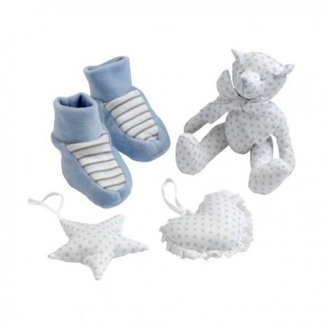 "Cadeauset ""Les Bebes d'Elysea"" 4 stuks blauw"