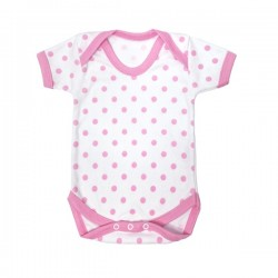 Pink Polka Dot Pattern Cotton Bodysuit 0-3m