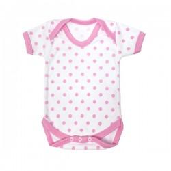 Pink Polka Dot Pattern Cotton Bodysuit 0-3m