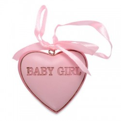 Pink 'Baby Girl' Resin Heart