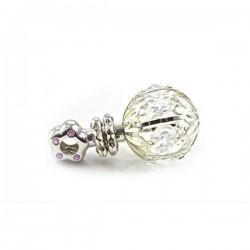 Zilveren rammelaar met kristal roze