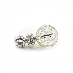 Zilveren rammelaar met kristal blauw