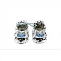 Silverplated Crystal Baby Shoes Blue