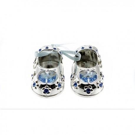 Chaussons en argent cristal bleu