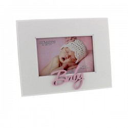 White baby frame pink 10x15 cm
