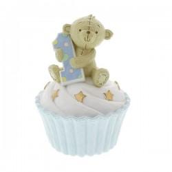 Resin Money Bank Blue Teddy Bear 1st Birthday