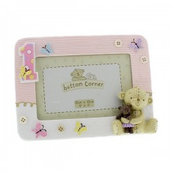 "Photo frame ""First birthday"" pink"