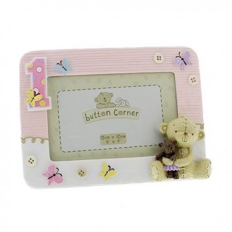 "Photo frame ""First birthday"" pink"
