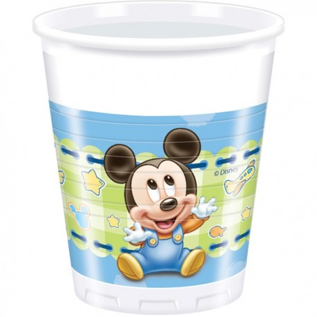 """200ml Plastic Cups """"Baby Mickey Mouse"""" x8"""