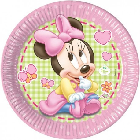 """23cm Party Plates """"Baby Minnie Mouse"""" x8"""