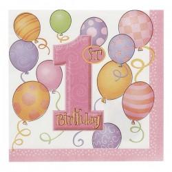 """""""1st Birthday"""" roze papieren servetten x16"""