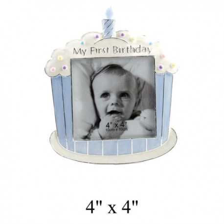 Silverplated & Epoxy Photo frame 1st Birthday cake Blue 10 x 10 cm