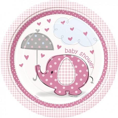 Umbrellaphants Baby Shower Pink 9'' plates - x8