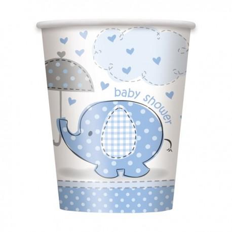 """""""Olifant"""" kartonnen bekertjes blauw voor Baby Shower x8"""