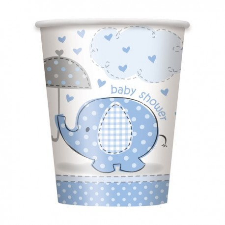 Umbrellaphants Baby Shower Blue 9 oz Paper Cup x8