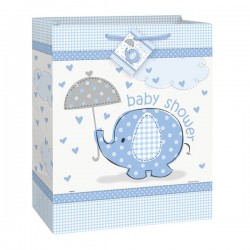 "Umbrellaphants blue ""Baby Shower"" gift bag"