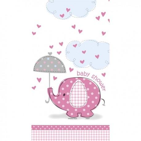 """Plastic tafelkleed """"Olifant"""" roze voor Baby Shower"""
