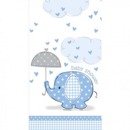 Nappe en plastique éléphant bleu pour Baby Shower