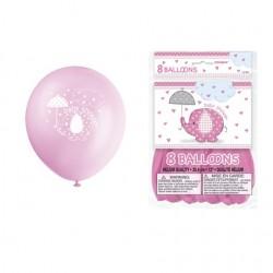 Ballons éléphant rose pour Baby Shower x8
