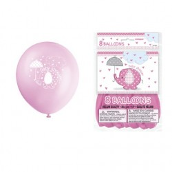 "Umbrellaphants ""Baby Shower"" Pink 12'' Balloons x8"