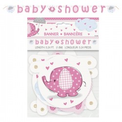 Umbrellaphants Pink Jointed Babyshower Banner