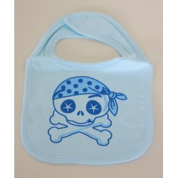 """Skull and crossbones"" blue Bib"