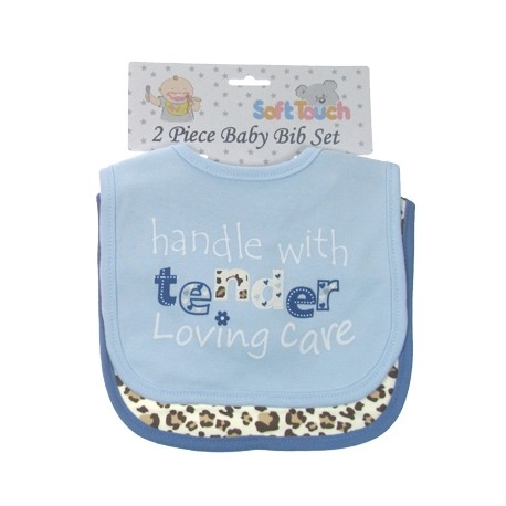 Baby 2pk 'Handle with care / Leopard print' velcro bibs Blue