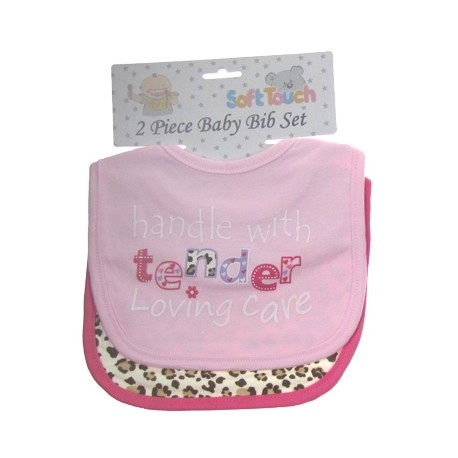 Baby 2pk 'Handle with care / Leopard print' velcro bibs Pink