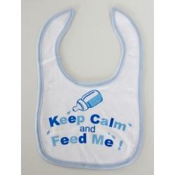 "Slabbetje ""Keep calm and feed me"" blauw"